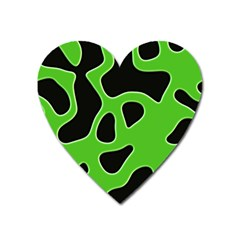 Black Green Abstract Shapes A Completely Seamless Tile Able Background Heart Magnet by Simbadda