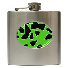 Black Green Abstract Shapes A Completely Seamless Tile Able Background Hip Flask (6 Oz) by Simbadda