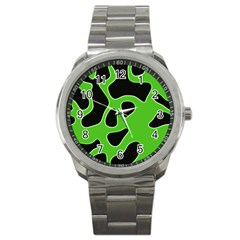 Black Green Abstract Shapes A Completely Seamless Tile Able Background Sport Metal Watch by Simbadda