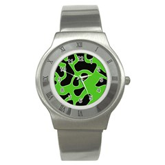 Black Green Abstract Shapes A Completely Seamless Tile Able Background Stainless Steel Watch by Simbadda