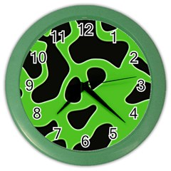 Black Green Abstract Shapes A Completely Seamless Tile Able Background Color Wall Clocks by Simbadda