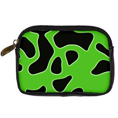 Black Green Abstract Shapes A Completely Seamless Tile Able Background Digital Camera Cases by Simbadda