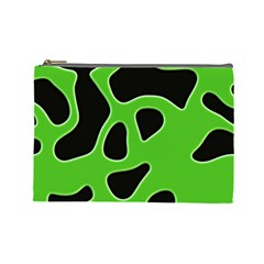 Black Green Abstract Shapes A Completely Seamless Tile Able Background Cosmetic Bag (large)  by Simbadda