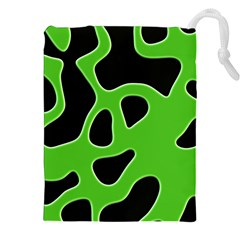 Black Green Abstract Shapes A Completely Seamless Tile Able Background Drawstring Pouches (xxl)