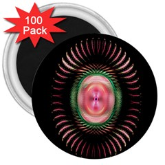 Fractal Plate Like Image In Pink Green And Other Colours 3  Magnets (100 Pack) by Simbadda