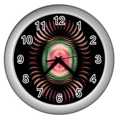 Fractal Plate Like Image In Pink Green And Other Colours Wall Clocks (silver)  by Simbadda