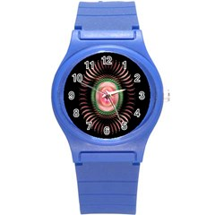 Fractal Plate Like Image In Pink Green And Other Colours Round Plastic Sport Watch (s) by Simbadda
