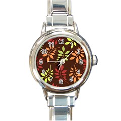 Leaves Wallpaper Pattern Seamless Autumn Colors Leaf Background Round Italian Charm Watch by Simbadda
