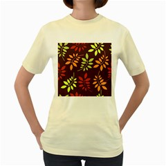 Leaves Wallpaper Pattern Seamless Autumn Colors Leaf Background Women s Yellow T-shirt by Simbadda