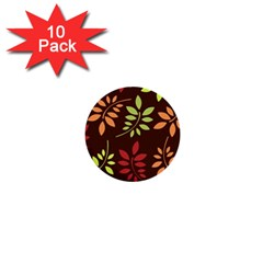 Leaves Wallpaper Pattern Seamless Autumn Colors Leaf Background 1  Mini Buttons (10 Pack)  by Simbadda