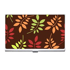 Leaves Wallpaper Pattern Seamless Autumn Colors Leaf Background Business Card Holders by Simbadda