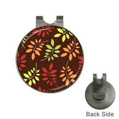 Leaves Wallpaper Pattern Seamless Autumn Colors Leaf Background Hat Clips With Golf Markers by Simbadda