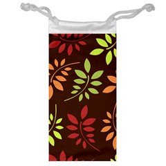 Leaves Wallpaper Pattern Seamless Autumn Colors Leaf Background Jewelry Bag by Simbadda