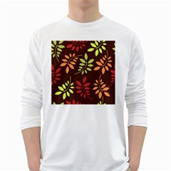 Leaves Wallpaper Pattern Seamless Autumn Colors Leaf Background White Long Sleeve T Shirts by Simbadda