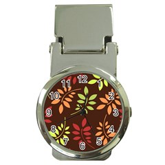 Leaves Wallpaper Pattern Seamless Autumn Colors Leaf Background Money Clip Watches by Simbadda