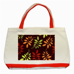 Leaves Wallpaper Pattern Seamless Autumn Colors Leaf Background Classic Tote Bag (red) by Simbadda