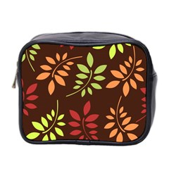 Leaves Wallpaper Pattern Seamless Autumn Colors Leaf Background Mini Toiletries Bag 2 Side by Simbadda