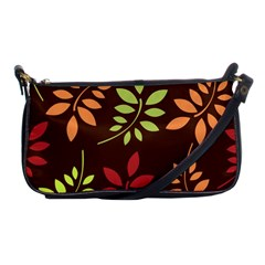 Leaves Wallpaper Pattern Seamless Autumn Colors Leaf Background Shoulder Clutch Bags by Simbadda