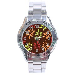 Leaves Wallpaper Pattern Seamless Autumn Colors Leaf Background Stainless Steel Analogue Watch by Simbadda