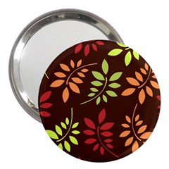 Leaves Wallpaper Pattern Seamless Autumn Colors Leaf Background 3  Handbag Mirrors