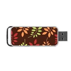 Leaves Wallpaper Pattern Seamless Autumn Colors Leaf Background Portable Usb Flash (one Side) by Simbadda