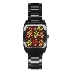 Leaves Wallpaper Pattern Seamless Autumn Colors Leaf Background Stainless Steel Barrel Watch by Simbadda