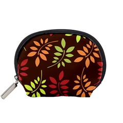 Leaves Wallpaper Pattern Seamless Autumn Colors Leaf Background Accessory Pouches (small)  by Simbadda