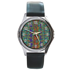Sea Of Mermaids Round Metal Watch by pepitasart