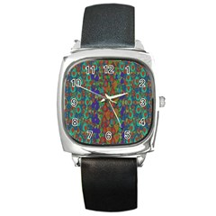 Sea Of Mermaids Square Metal Watch by pepitasart