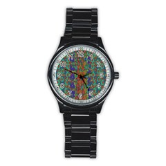 Sea Of Mermaids Stainless Steel Round Watch by pepitasart