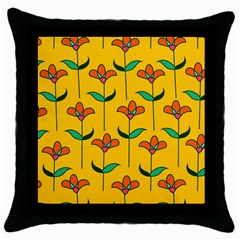 Small Flowers Pattern Floral Seamless Vector Throw Pillow Case (black) by Simbadda