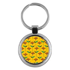Small Flowers Pattern Floral Seamless Vector Key Chains (round)  by Simbadda