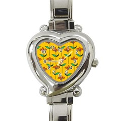 Small Flowers Pattern Floral Seamless Vector Heart Italian Charm Watch by Simbadda
