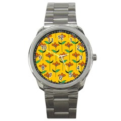Small Flowers Pattern Floral Seamless Vector Sport Metal Watch by Simbadda