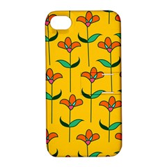 Small Flowers Pattern Floral Seamless Vector Apple Iphone 4/4s Hardshell Case With Stand by Simbadda