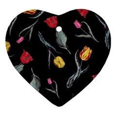Colorful Tulip Wallpaper Pattern Background Pattern Wallpaper Ornament (heart) by Simbadda