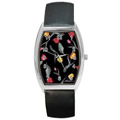 Colorful Tulip Wallpaper Pattern Background Pattern Wallpaper Barrel Style Metal Watch by Simbadda