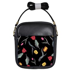 Colorful Tulip Wallpaper Pattern Background Pattern Wallpaper Girls Sling Bags by Simbadda