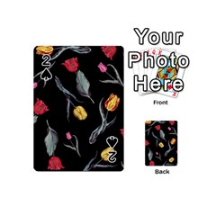 Colorful Tulip Wallpaper Pattern Background Pattern Wallpaper Playing Cards 54 (mini)  by Simbadda
