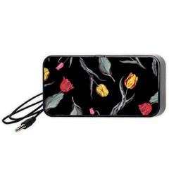 Colorful Tulip Wallpaper Pattern Background Pattern Wallpaper Portable Speaker (black) by Simbadda