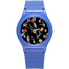 Colorful Tulip Wallpaper Pattern Background Pattern Wallpaper Round Plastic Sport Watch (s) by Simbadda