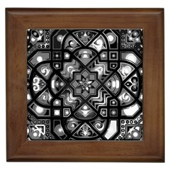 Geometric Line Art Background In Black And White Framed Tiles by Simbadda