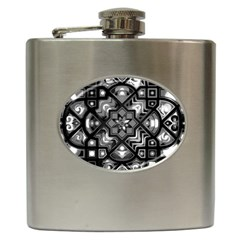 Geometric Line Art Background In Black And White Hip Flask (6 Oz) by Simbadda