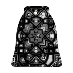 Geometric Line Art Background In Black And White Ornament (bell)