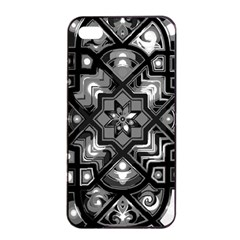Geometric Line Art Background In Black And White Apple Iphone 4/4s Seamless Case (black) by Simbadda