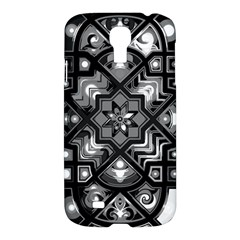 Geometric Line Art Background In Black And White Samsung Galaxy S4 I9500/i9505 Hardshell Case by Simbadda