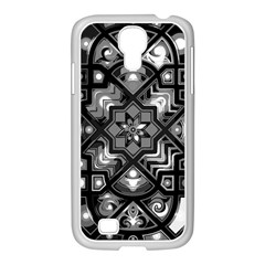 Geometric Line Art Background In Black And White Samsung Galaxy S4 I9500/ I9505 Case (white) by Simbadda