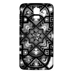 Geometric Line Art Background In Black And White Samsung Galaxy S5 Back Case (white)