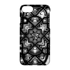 Geometric Line Art Background In Black And White Apple Iphone 7 Hardshell Case by Simbadda