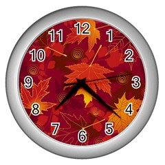 Autumn Leaves Fall Maple Wall Clocks (silver)